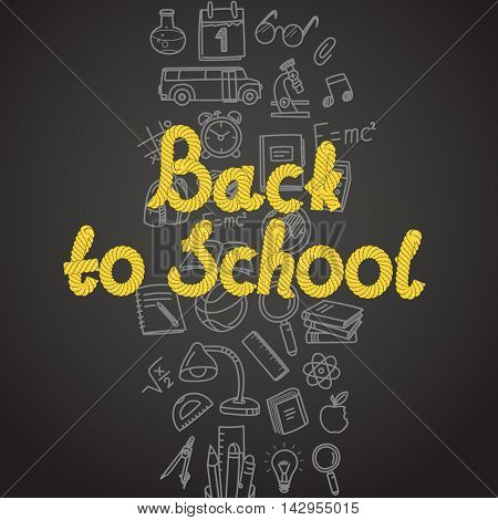Back to scholl concept. Different education symbols vector illustration
