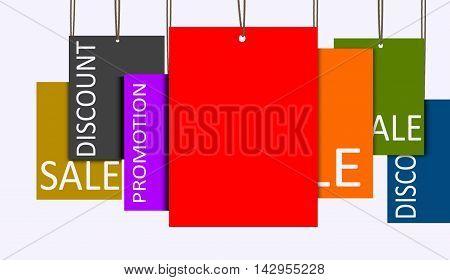 3D rendering multi color hanging sales tags