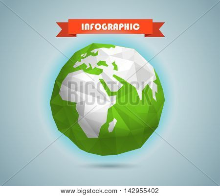 Polygonal illustration of the Earth. Infographic elements template