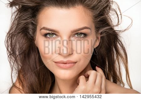 Beauty Closeup Portrait Of Young Natural Woman.