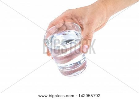 Hand Of A Man Giving A Glass With Water