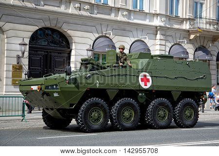 Warsaw, Poland - August 15: Polish combat vehicle during the feast of the Polish Army on August 15, 2016 in Warsaw in Poland