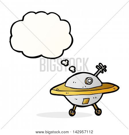cartoon flying saucer with thought bubble