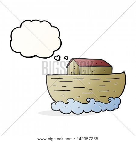 freehand drawn thought bubble cartoon noah's ark