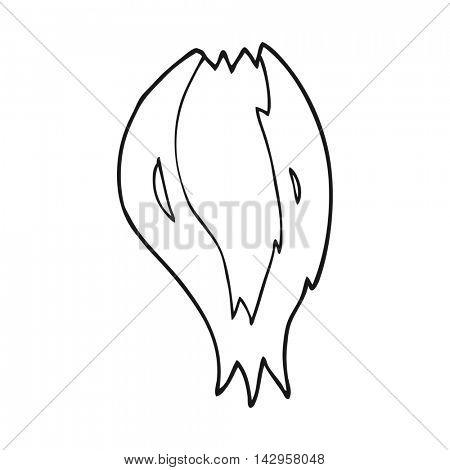 freehand drawn black and white cartoon rocket ship flames