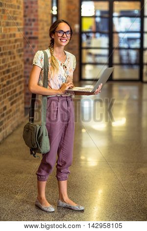 Portrait of business executive using laptop in office
