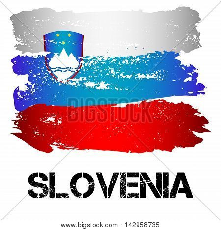 Flag of Slovenia from brush strokes in grunge style isolated on white background. Country in Southern Europe. Vector illustration