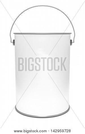 3d rendering of a white paint bucket isolated on white