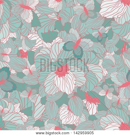 Seamless Floral Ornamental Pattern With Flowers Leaves And Butterflies
