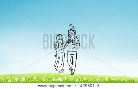 Hand drawn young happy family in casual clothes with child