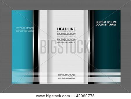 Tri fold pizza store brochure template design vector illustration