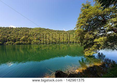 Lago di Levico (Levico Lake) in Trentino Alto Adige Italy Europe