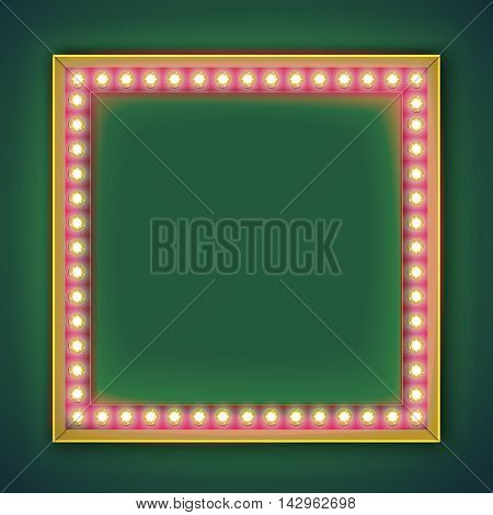 Realistic retro light bulb in the square. Last minute vintage volumetric light bulb with a blank space for text. 3D volumetric frame for your template, advertising, promotions, text.