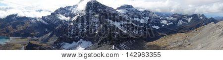 Panorama of mountains in Switzerland (Dents du midi, Haute Cime).