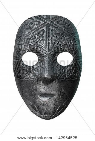 3D Rendering Iron Mask On White