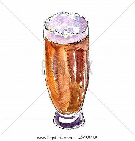 watercolor cup of dark beer, alcohol drink, octoberfest symbol, hand drawn illustration