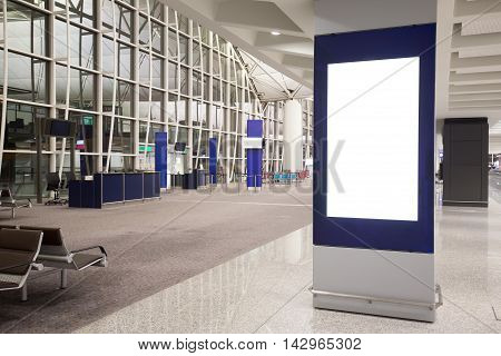 Blank Billboard in airport shot in hong kong