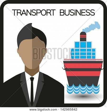 Transport business with a person and a ship flat design. Digital vector image