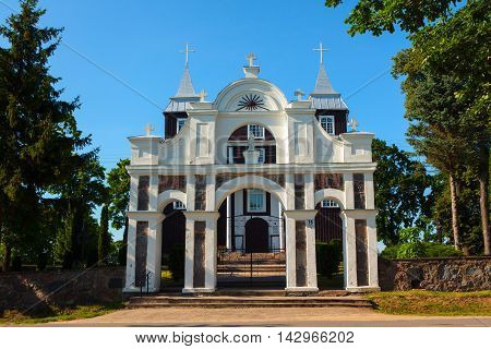 Wooden Church Of The Divine Providence In Antazave, Lithuania.