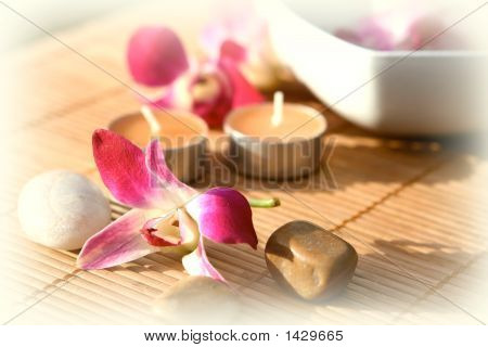 Orchid And Candle Outdoor Spa