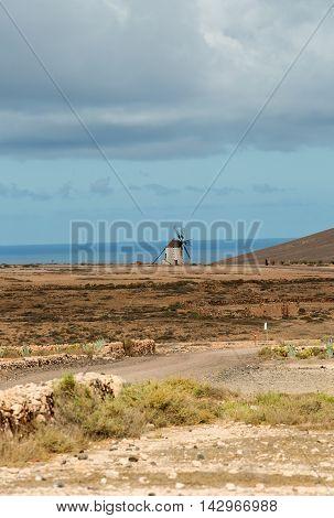 Round stone windmill near Tefia on Fuerteventura Canary Islands Spain