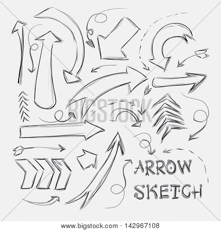 Collection Of Sketch Arrows Hand-drawn On A White Background. Vector