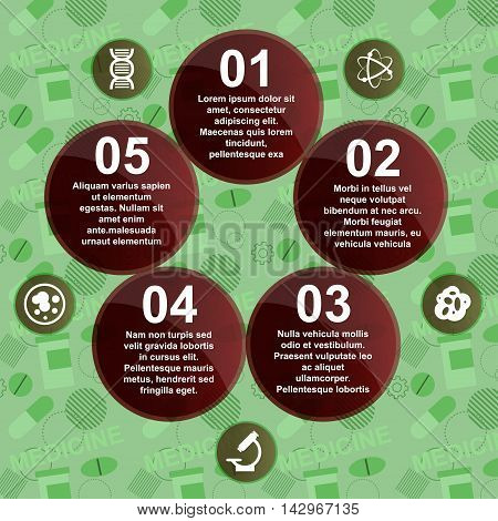 Abstract Medicine Background With Circles And Icons. Infographic. Vector