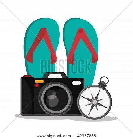 camera sandals compass time travel vacations trip icon. Colorful design. Vector illustration