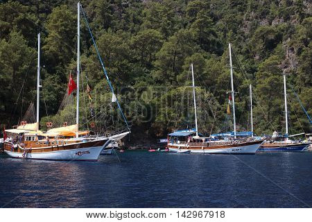 FETHIYE, TURKEY,22ND JULY 2016,: Boat trips for tourists around the bays of fethiye in Turkey,22nd july 2016