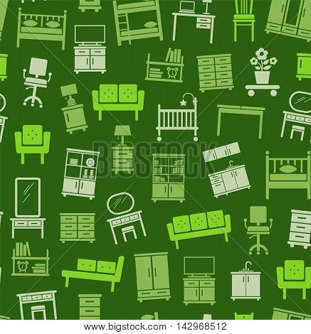 Furniture for house, background, seamless, green. Vector flat background with images of upholstered and Cabinet furniture. Light green image on a dark green background.