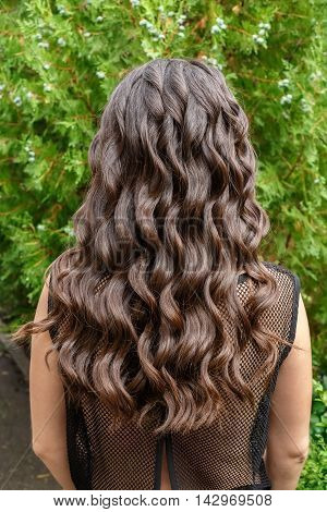 Back view of brunette woman with long dark curly hair on garden background. Long glossy curly hair. Curly hair. Hairstyle back view
