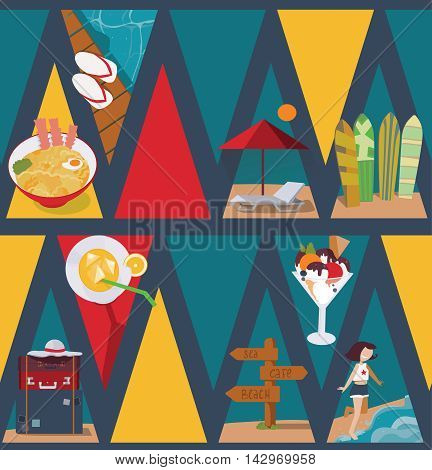 Seamless vector illustration based on colorful bright triangles on dark blue background and vacation objects and girl. Pattern with ice cream bags sea and sunbed in blue red and yellow.
