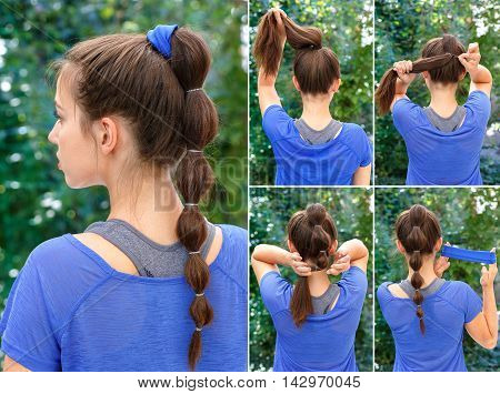 simple hairstyle for sports pony tail with scrunchy tutorial. Hair tutorial. Backstage technique of creating pony tail with scrunchy. Hairstyle. Tutorial. Hairstyle for sports