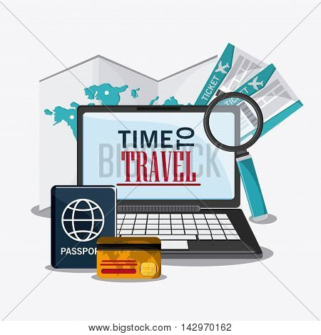 laptop lupe credit card time travel vacation trip icon. Colorful design. Vector illustration