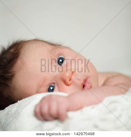 Baby face close-up cute newborn on gray background