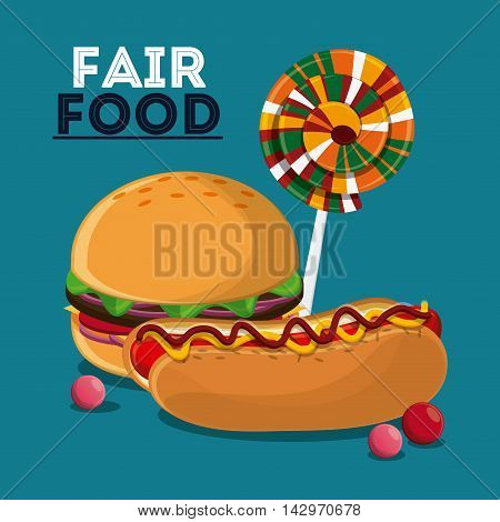 hot dog hamburger candy fair food snack carnival festival icon. Colorful design. Vector illustration