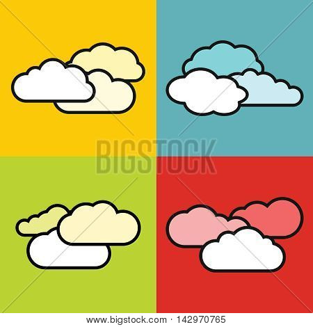 Flat cloud icons on color background. Cloudscape colourful vector illustration