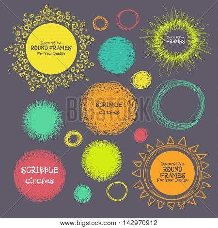 Set Of Hand-drawn Scribble Circles And Decorative Frames For You. Vector