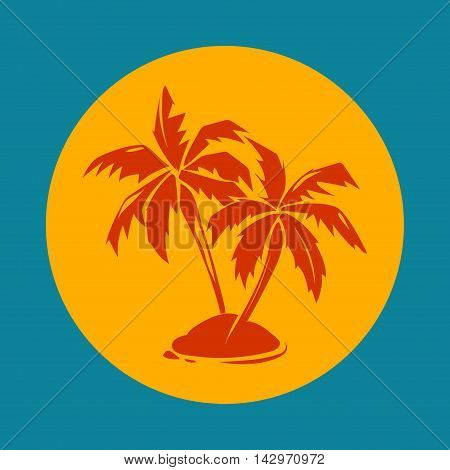 Tropical paradise palm trees and sun logo. Island silhouette emblem for vacation, vector illustration