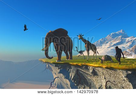 The group of animals on the edge of a cliff.,3d render