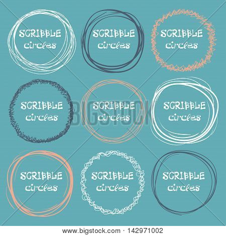 Collection Of Hand-drawn Scribble Circles On A Dark Background. Vector