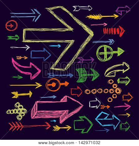Set Of Bright Scribble Arrows Hand-drawn On A Dark Background. Vector