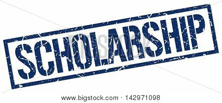 scholarship stamp. blue grunge square isolated sign