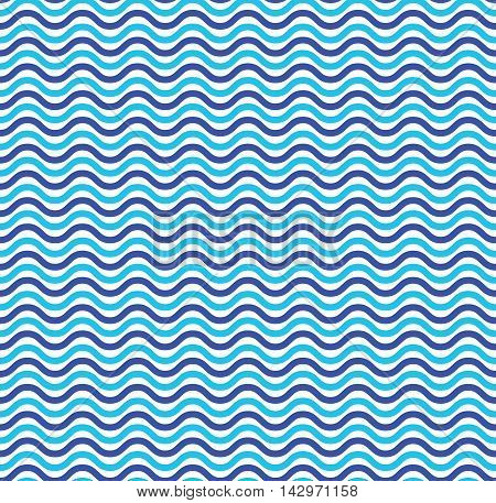 Blue ocean waves marine seamless pattern. Illustration wave line texture, vector backdrop nautical
