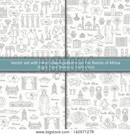 Vector set with seamless hand drawn patterns on the theme of Africa. Patterns with symbols of Egypt Tunis Morocco South Africa. Background for use in design packing textile fabrics