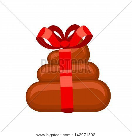Shitty gift with red ribbon bow isolated on white background. Vector illustration