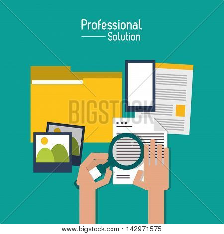 file document lupe smartphone professional solution technology icon. Colorful design. Vector illustration