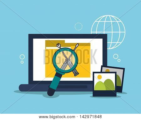laptop lupe picture professional solution technology icon. Colorful design. Vector illustration