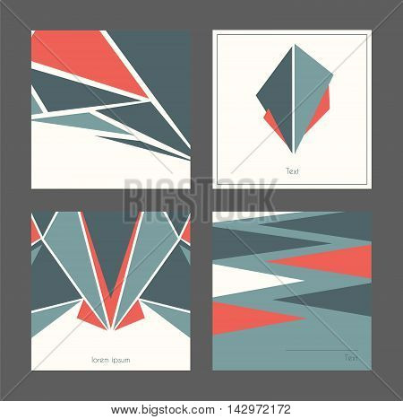 Beautiful collection of square cards based on blue and red triangles and white background. Vector illustration with laconic design good for print isolated on dark background