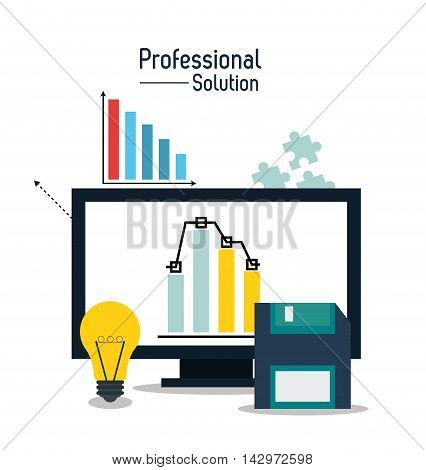 computer bulb diskette professional solution technology icon. Colorful design. Vector illustration